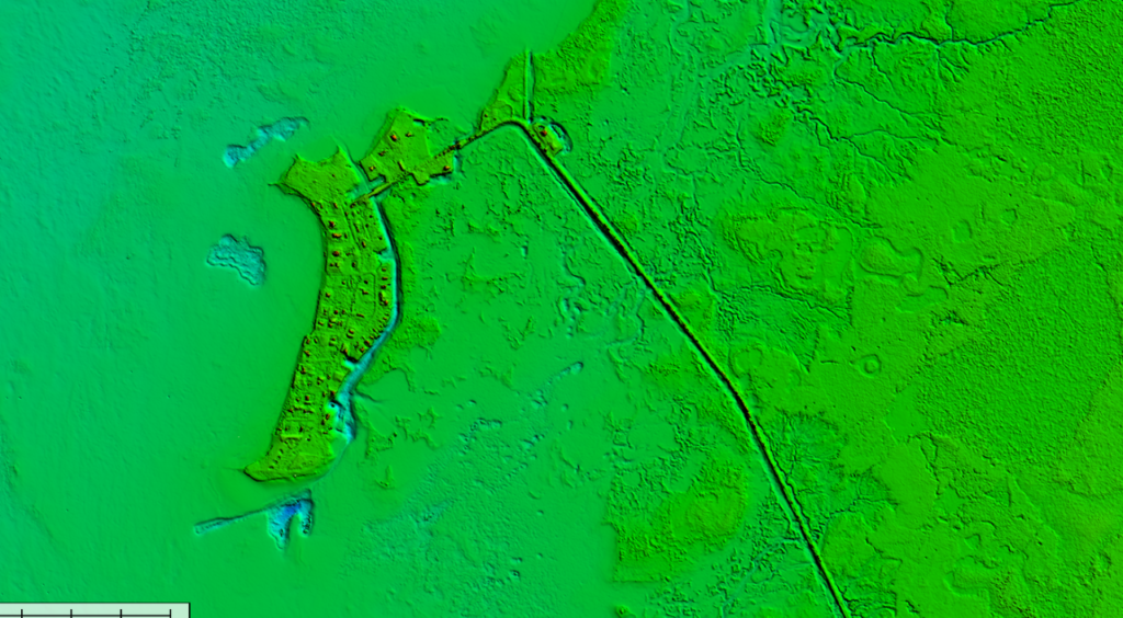 This image displays the green laser, showing topology and seafloor returns with the use of Bathymetric LiDAR